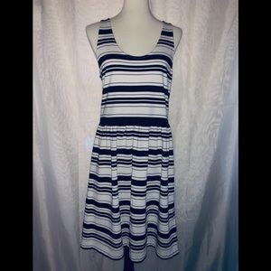 J. Crew black and light cream stripped Villa dress
